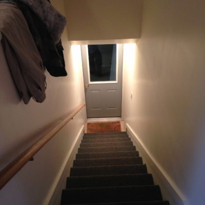 Stairs to garage entrance
