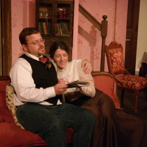 Erik Gaetz and Christine Williamson as Mr. & Mrs. Manningham in Angel Street (The Parish Players, Oct. 2015)
